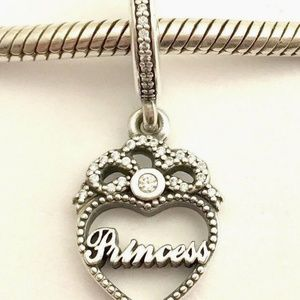Pandora Princess Heart Dangle Sterling Charm